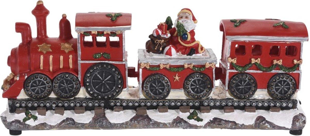 Kersttrein beeldje met Kerstman 39 cm met LED verlichting kopen