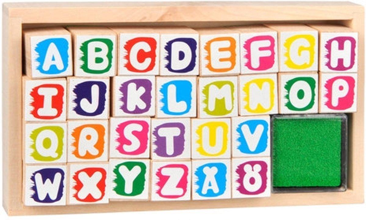 Houten Stempelset Alfabet 29-delig
