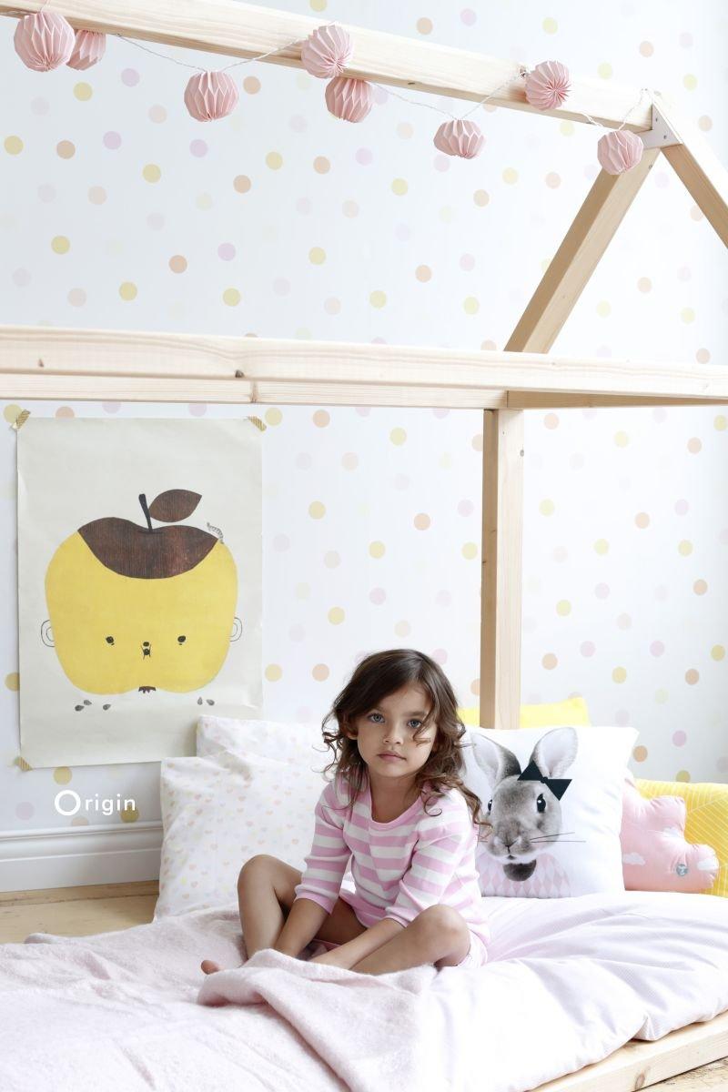 bol.com | Origin behang stip pastel geel, pastel perzikoranje ...