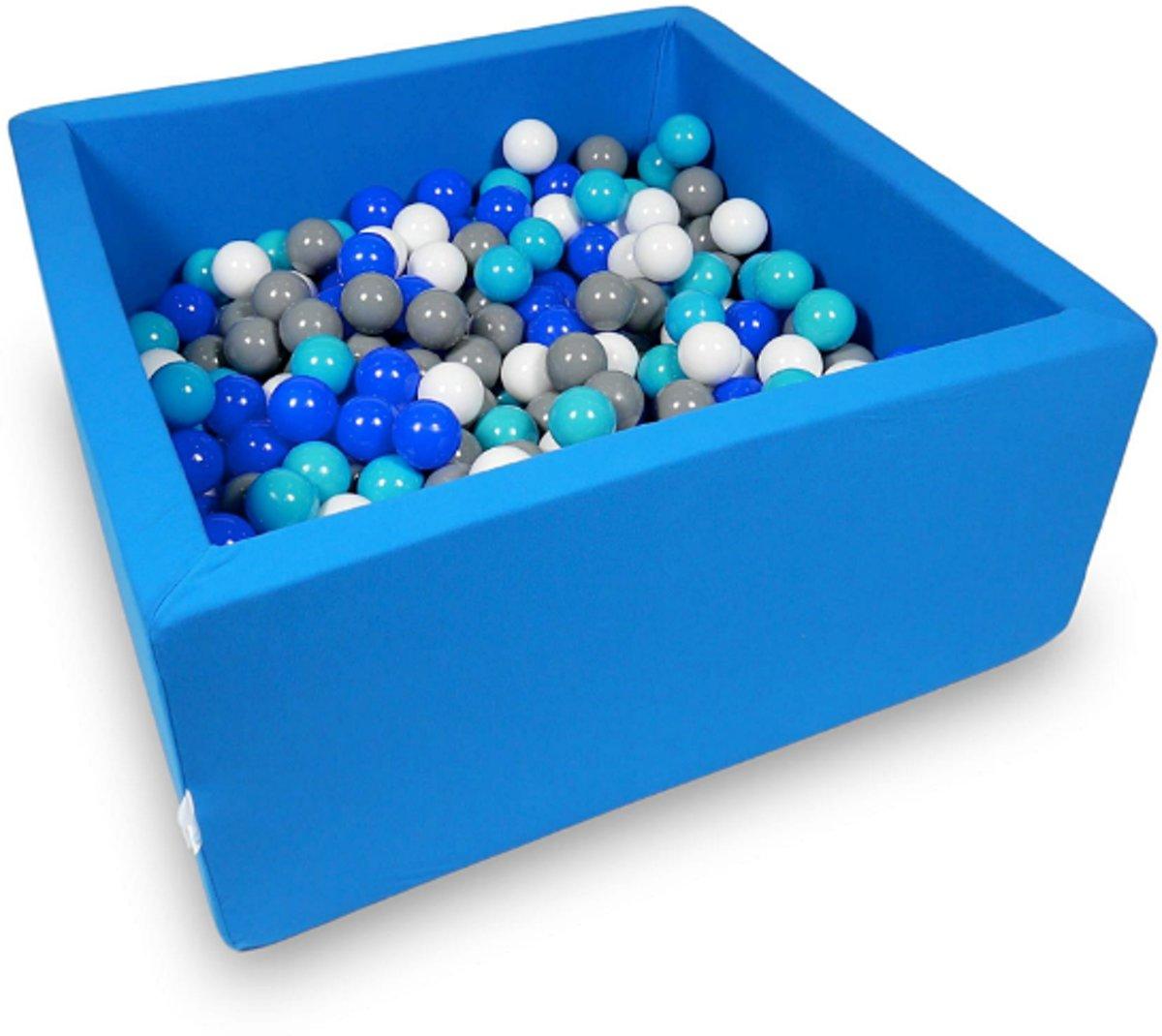 Ballenbak - 400 ballen - 90 x 90 x 40 cm - ballenbad - vierkant blauw