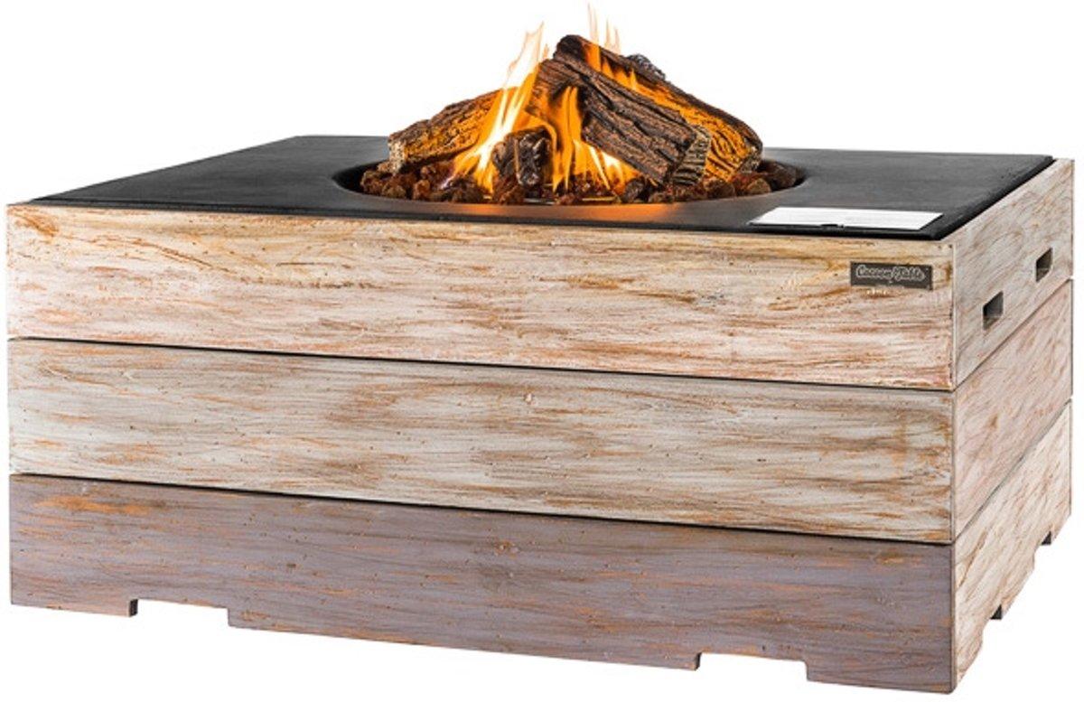 Happy Cocooning Vuurtafel Nice & Nasty - Rechthoek - Teak houten ombouw - Zwarte tafel