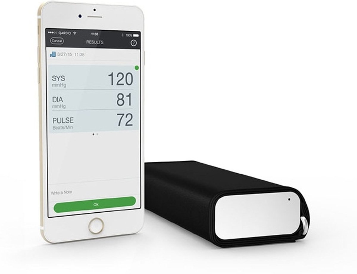 QardioArm draadloze bloeddrukmeter: compact en draagbaar manchet voor de bovenarm - compatibel met bluetooth voor Apple- en Android-toestellen, Arctic White