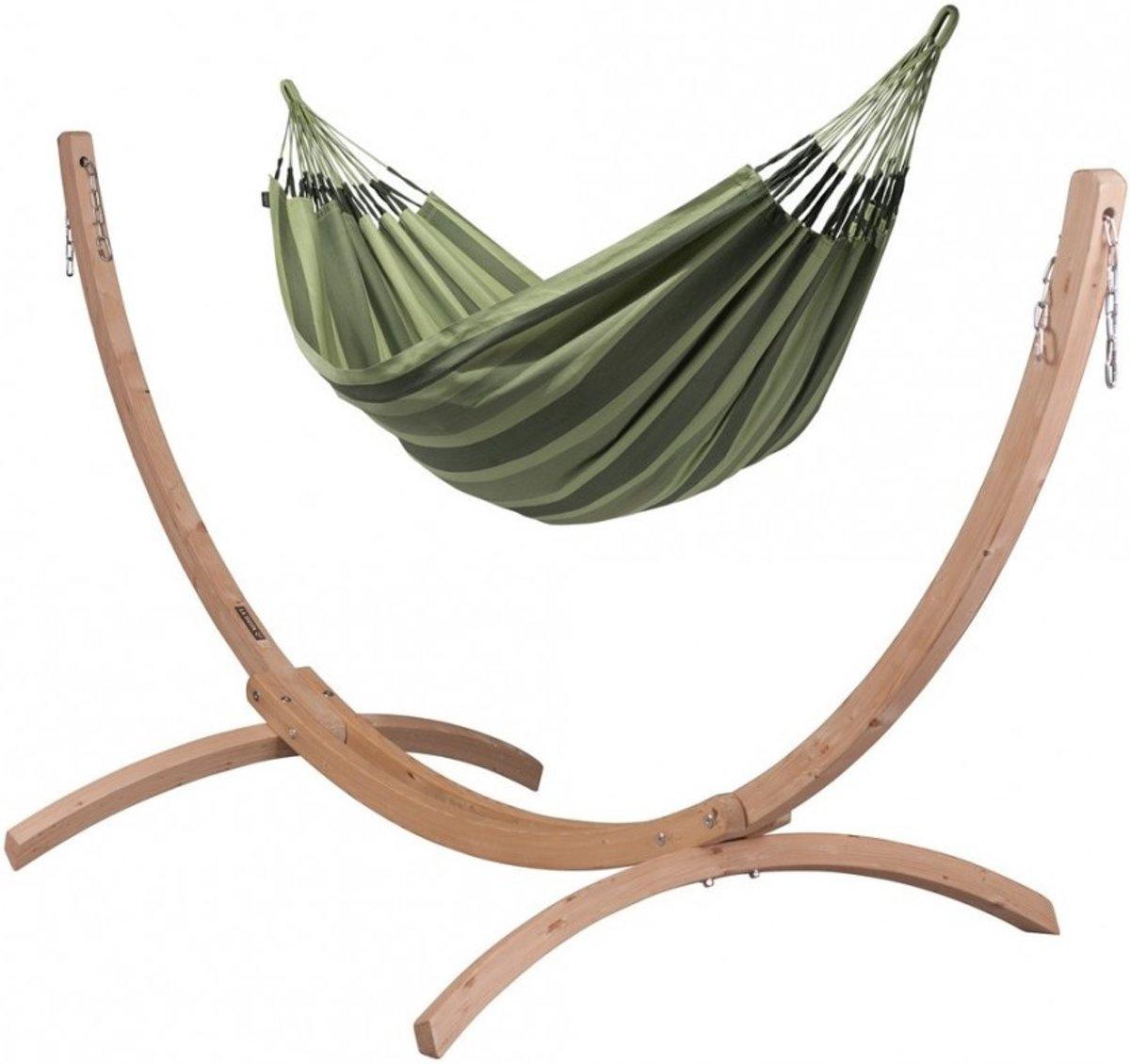 Hangmatset: 2-persoons hangmat AVENTURA forest + Standaard voor 2-persoons hangmat CANOA