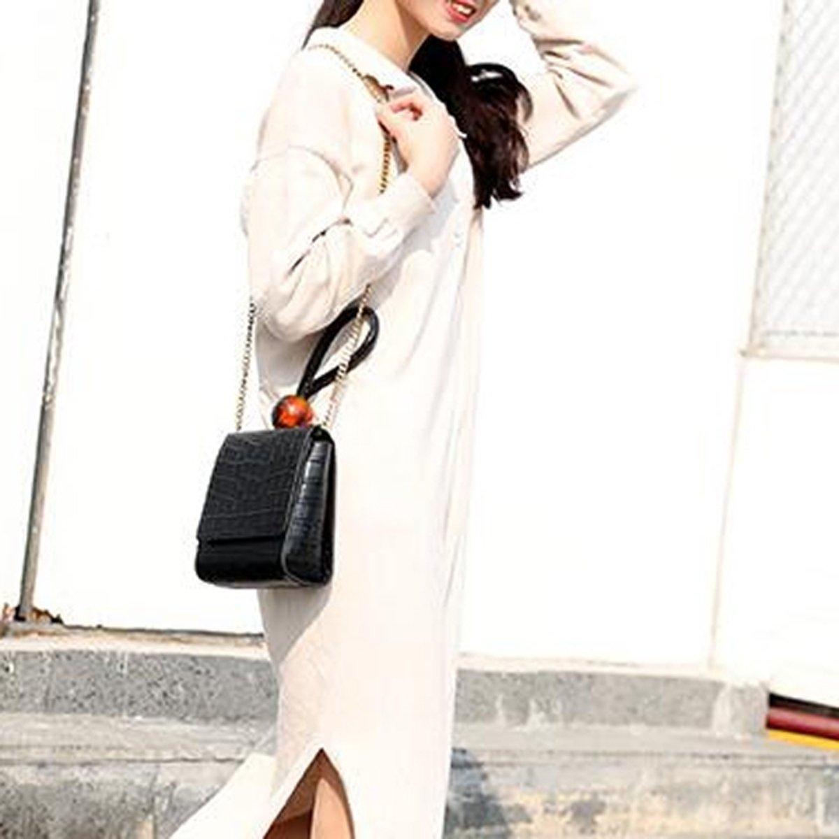 Let op type!! Spring Summer Woman Personality Stylish Alligator Pattern Cowhide Handbag(Black)