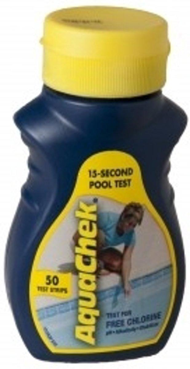 Teststrips aquachek Yellow 4 in 1 - Aquachek - Wateronderhoud - Zwembadwater - Kwaliteit - Zwembad - Test strips - Chloorwaarde - Ph waarde - Alkaniteit - Cyaanzuur gehalte - meten