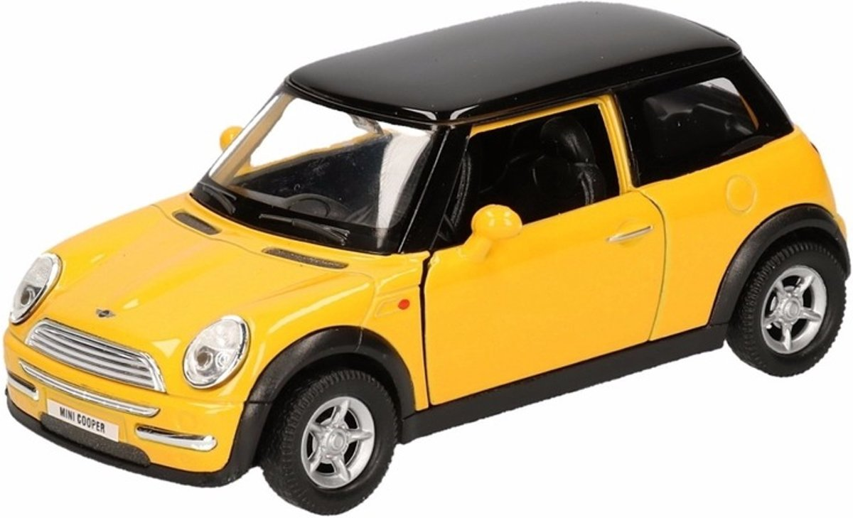 Speelgoed gele Mini Cooper auto 12 cm - modelauto / auto schaalmodel