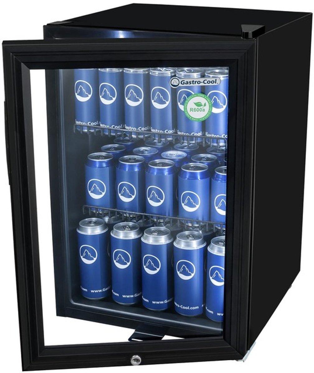 Gastro-Cool KW65 - Mini koelkast met glazen deur 62 Liter - Zwart/Zwart/Zwart 204101 kopen