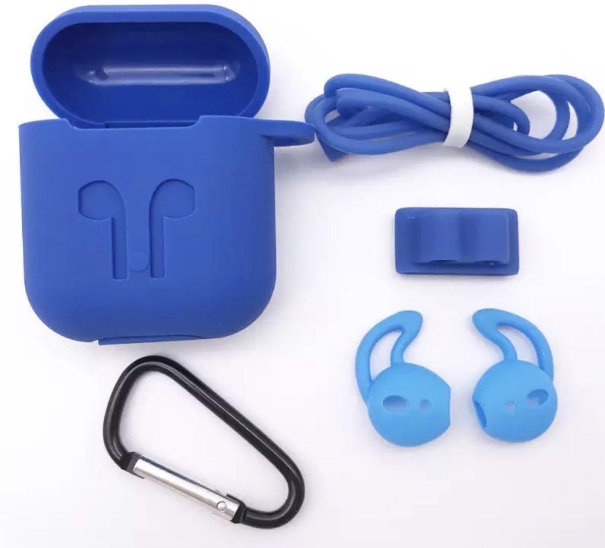 Siliconen Case Cover voor Apple Airpods - 5 in 1 set met Anti Lost Strap en Haak - Donkel blauw kopen