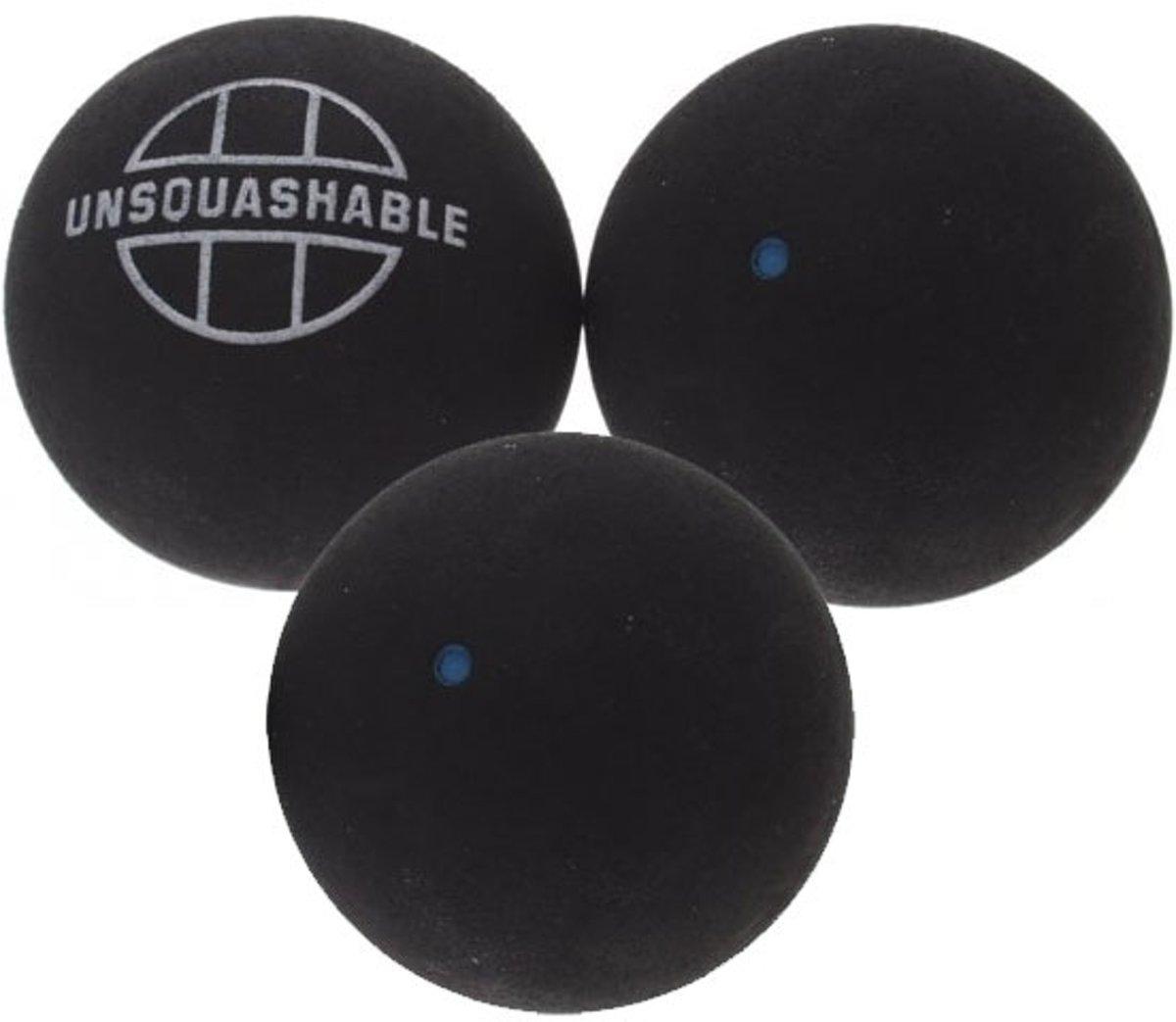 3 squashballen blauwe stip van unsquashable