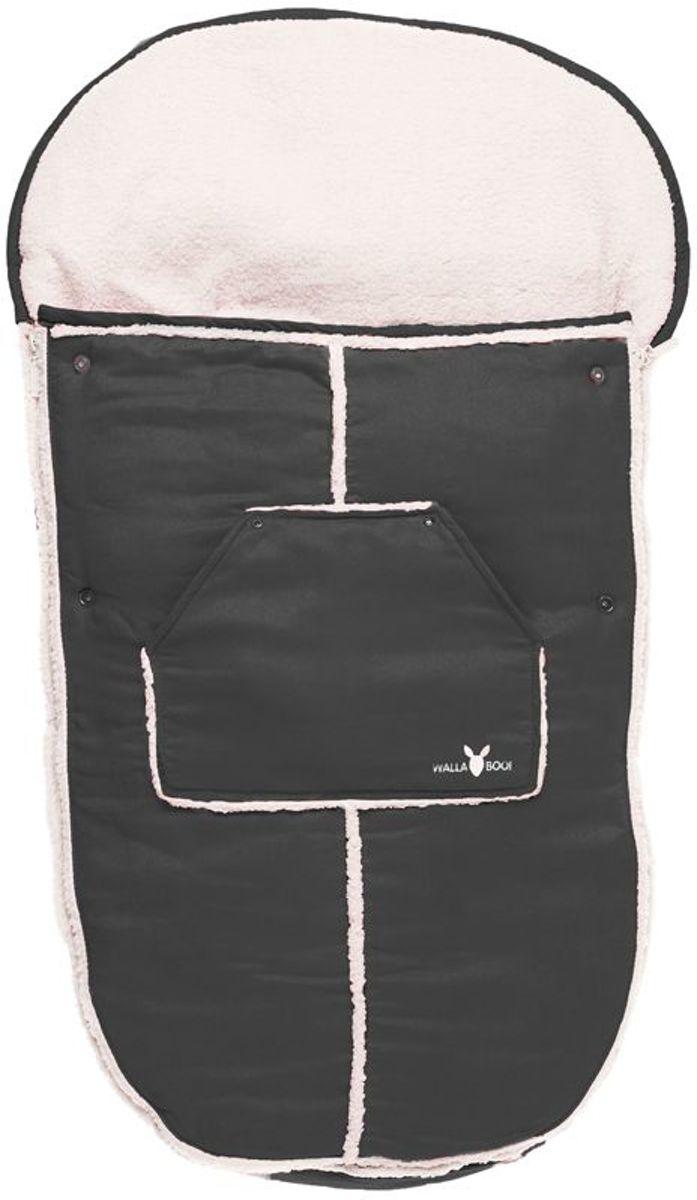 Wallaboo voetenzak - prachtig suède gevoerd met  bont - geschikt voor 6 tot 36 maanden - past in elke kinderwagen - zwart kopen