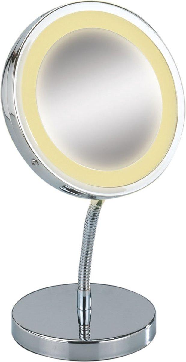 Cosmeticaspiegel Rond Staand Wenko Verchroomd RVS 3x Vergrotend met LED Verlichting 15cm kopen