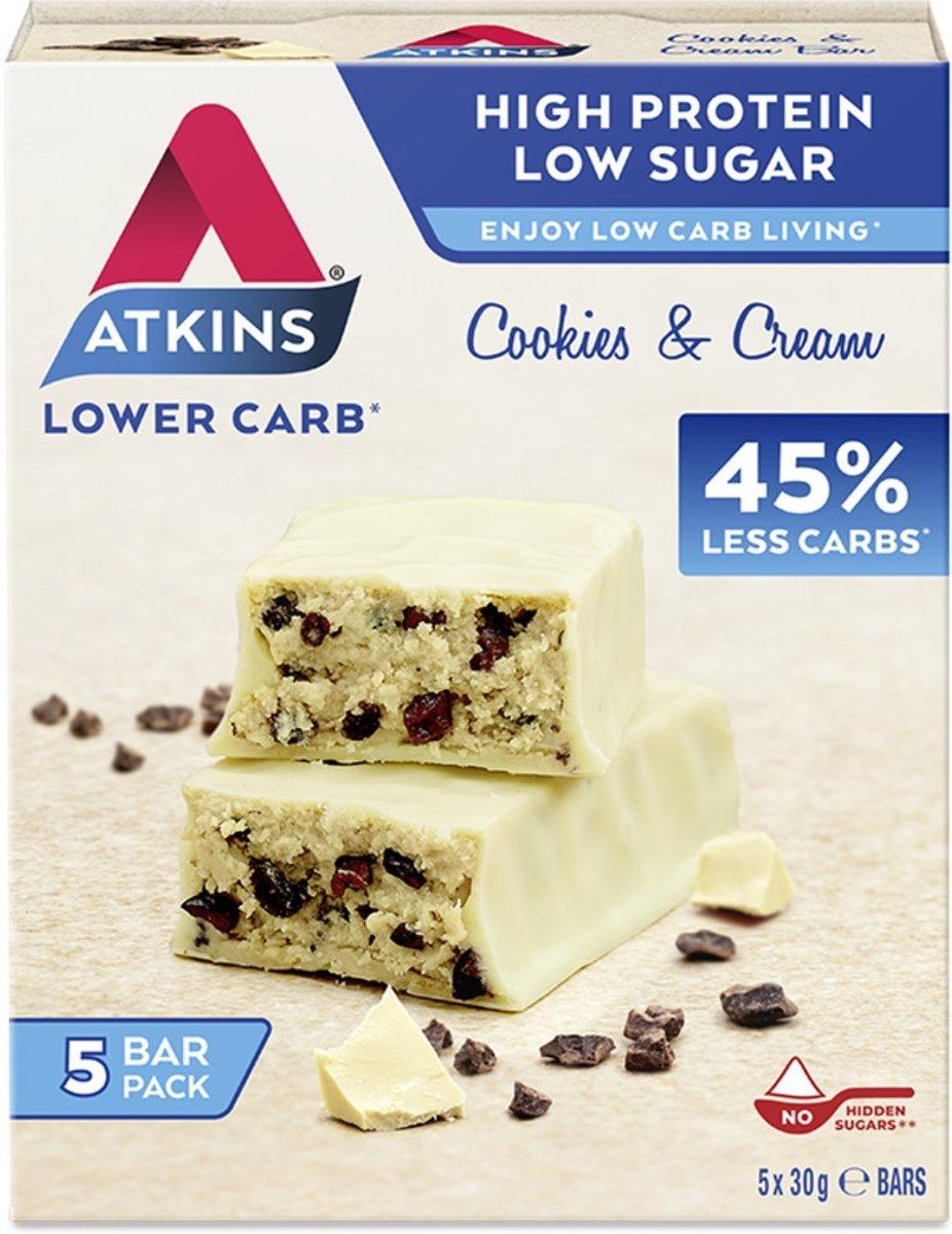 Foto van Atkins Advantage Cookies & Cream - Maaltijdreep - 5 x 30 gram - Voordeelverpakking