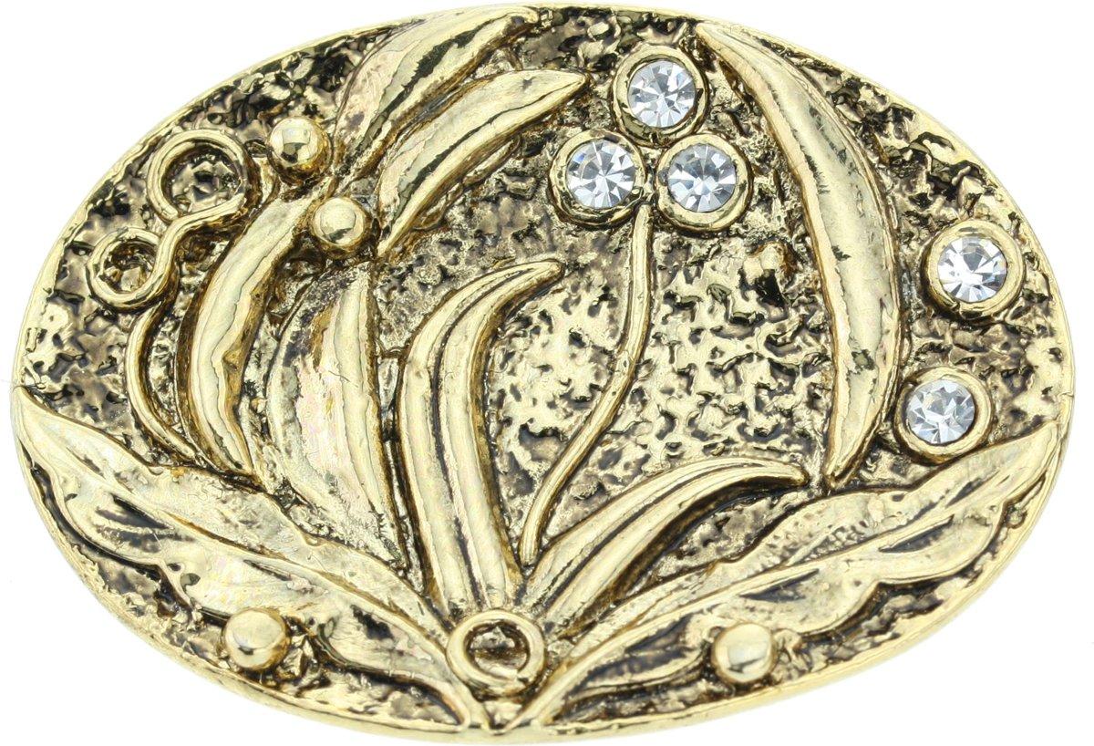 Ovale broche in antiek goud kleur met kristal stenen kopen
