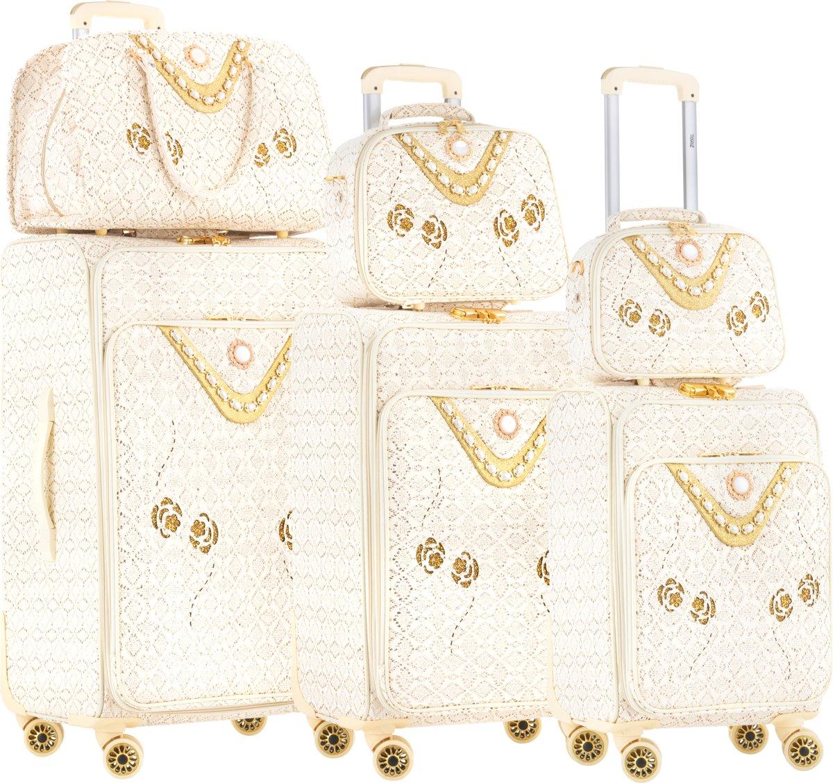 TravelZ BlingBling Yasmine Kofferset - 6-delige Trolleyset - Beautycase - Reistas - Koffers met dubbele wielen en slot -  Goud kopen