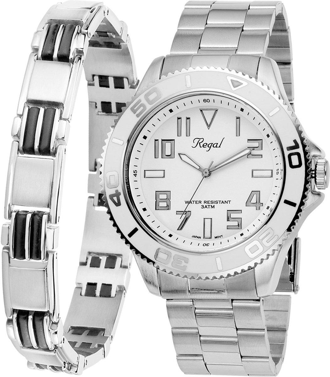 Lucardi - Stalen set armband & Regal horloge R14793-112 - maat 21 kopen