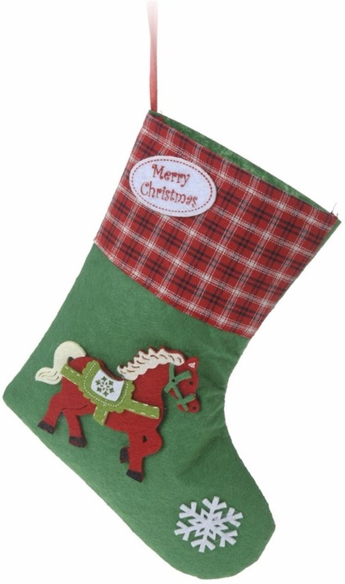 Kerstcadeau kerstsok groen voor je paard type 2 20 cm kopen