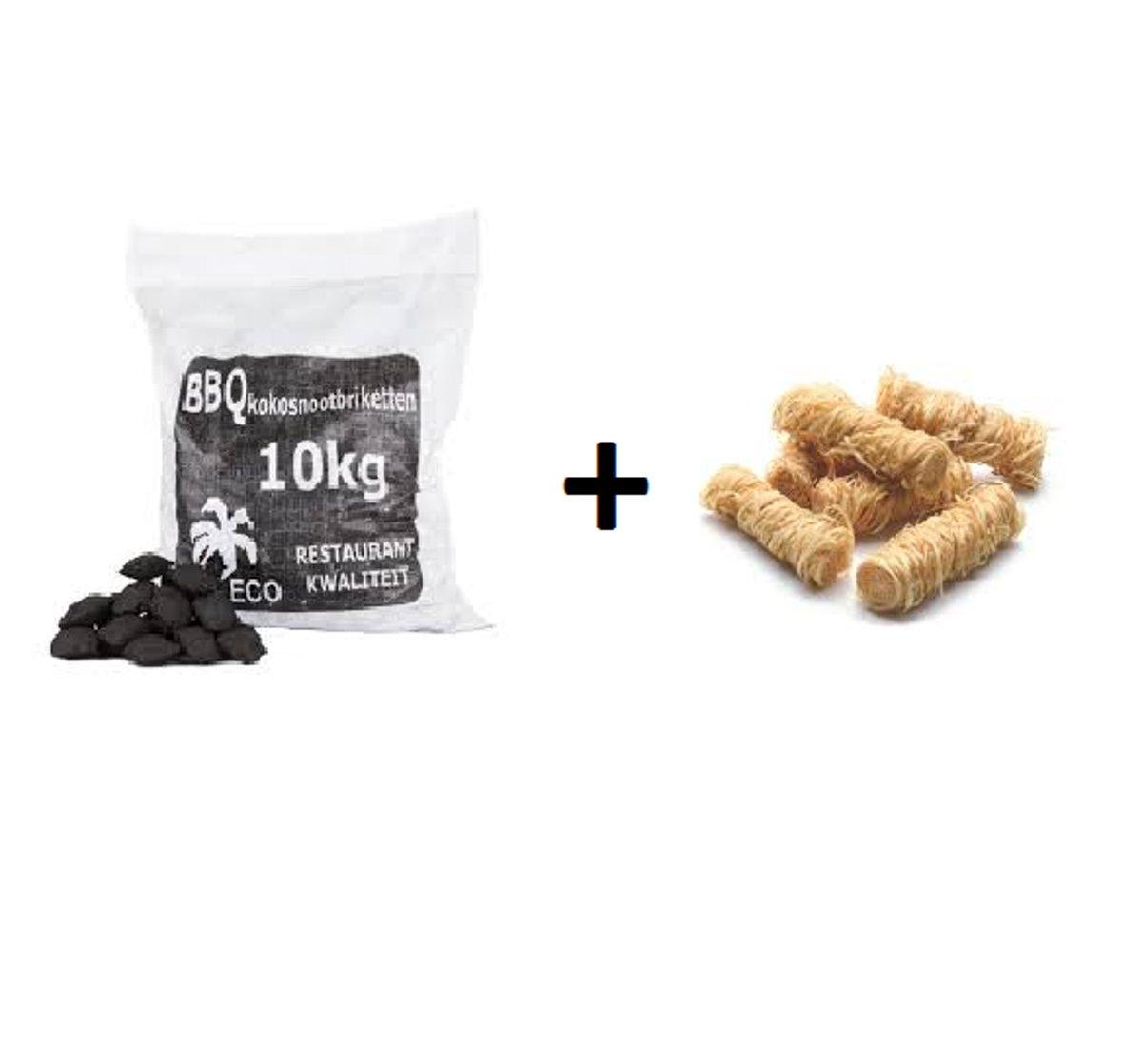 Combideal BBQdeco Kokosnootbriketten 10kg + Aanmaakwokkels 1KG kopen