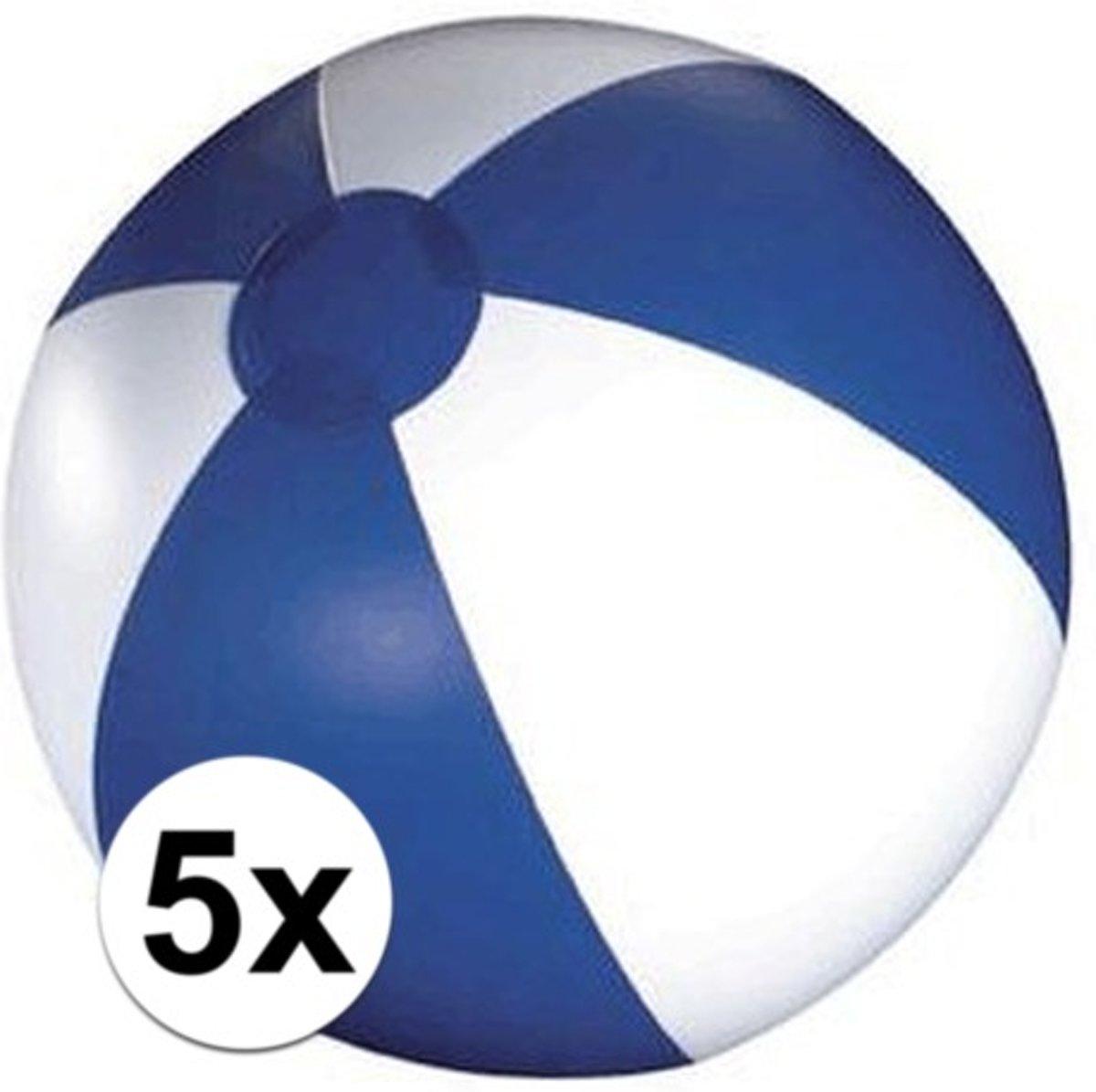 5x Opblaasbare strandbal blauw - 30 cm - strandballen
