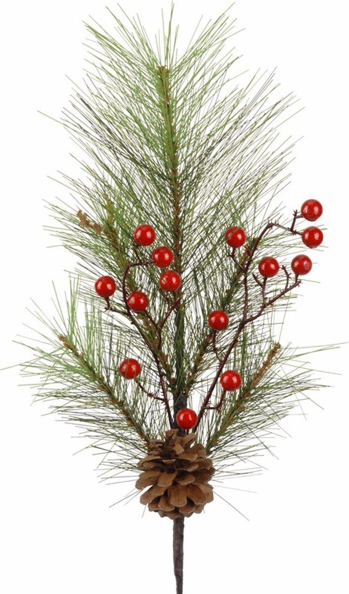 Kerst decoratie dennentak met rode besjes 60 cm kopen