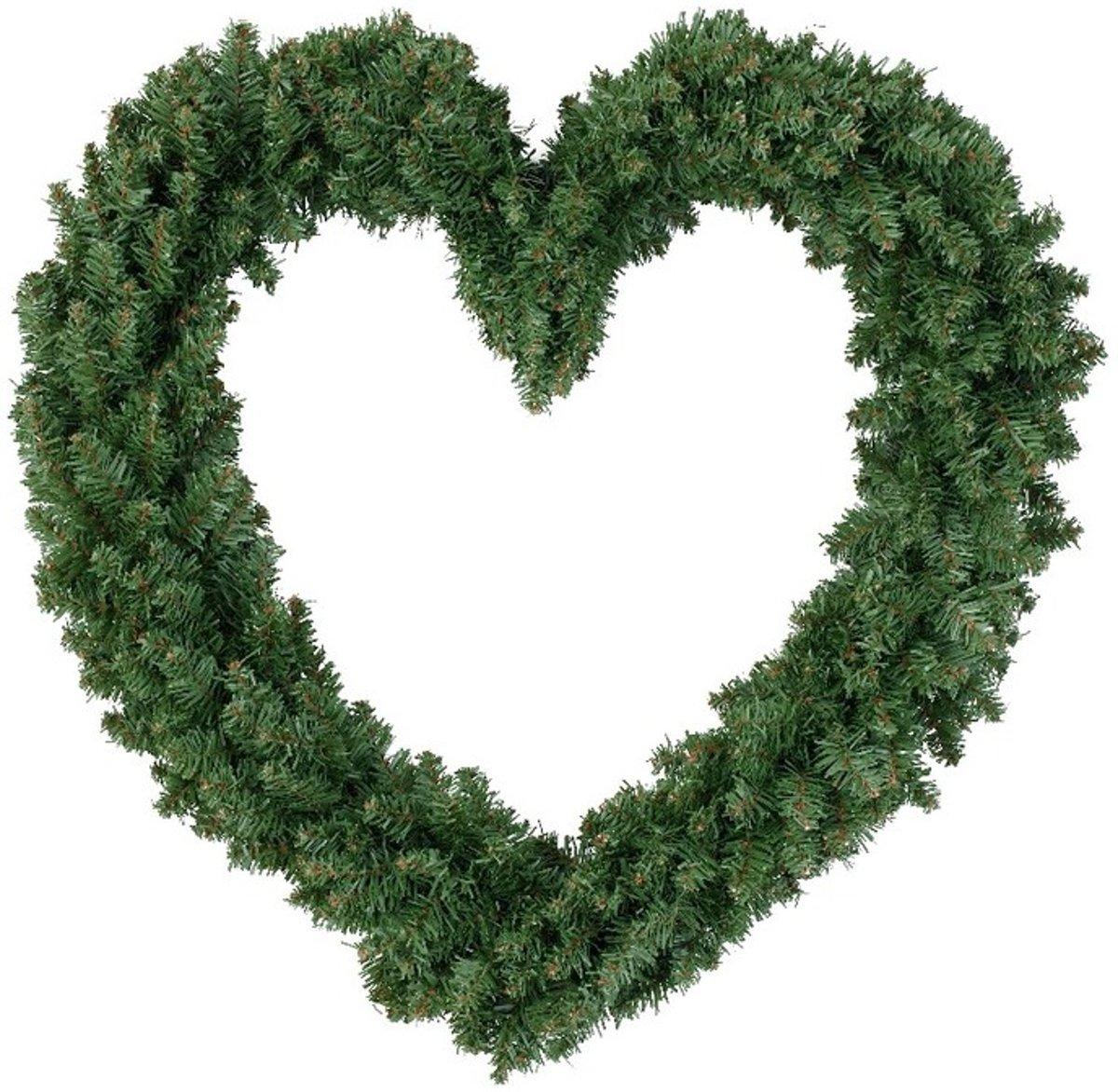 Kerstversiering kerstkrans hart groen 50 cm kopen