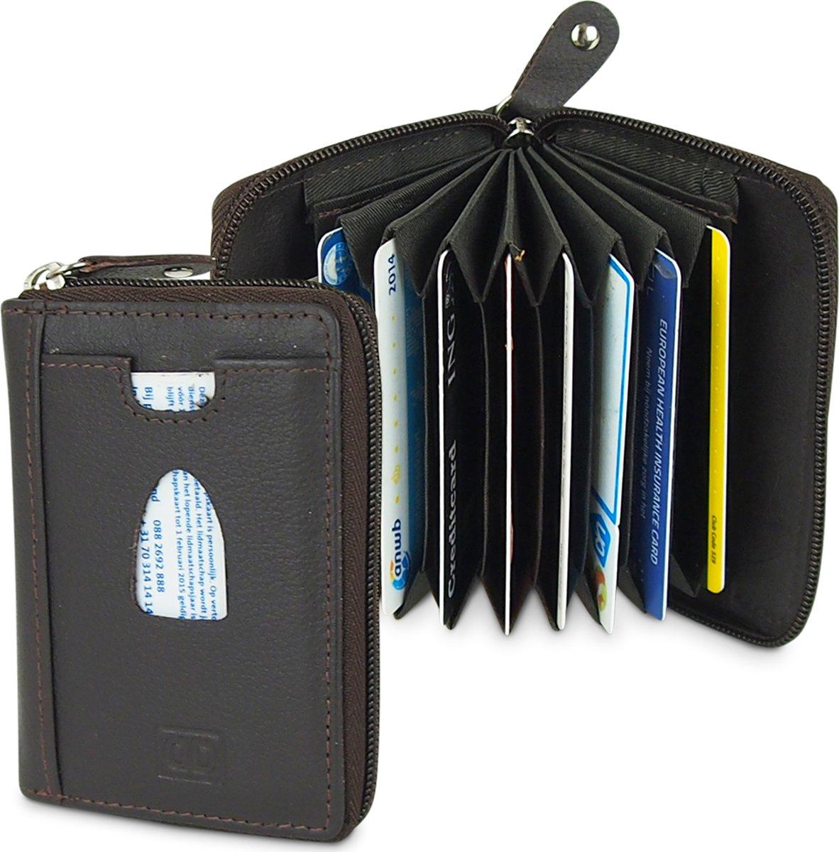 62cfff26ded ... Donkerbruin Creditcard Mapje met Rits - 12 Pasjes - Waaier - Leer - RFID  - Businessme ...