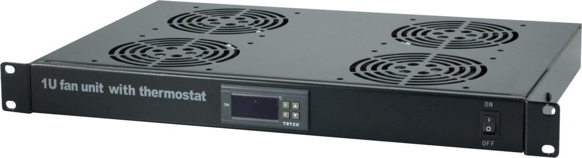 Basic 1U ventilator set met 4st fan 19 inch, zwart kopen