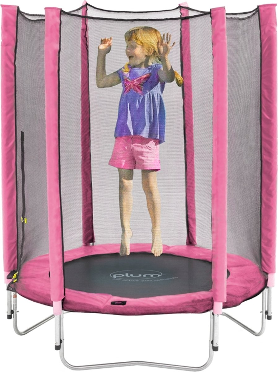 Plum Junior Trampoline inclusief Veiligheidsnet Roze 140 cm - Trampoline