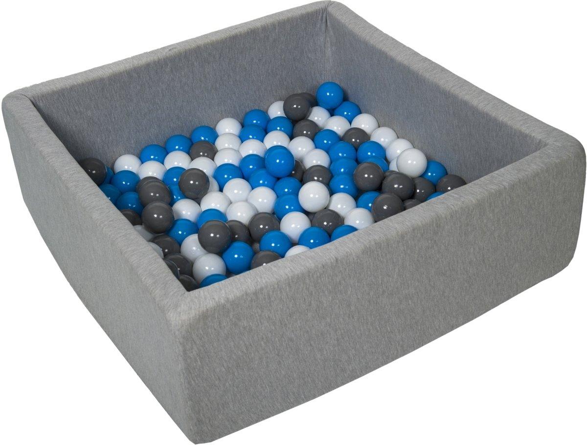 Ballenbak - stevige ballenbad - 90x90 cm - 150 ballen Ø 7 cm - wit, blauw, grijs.