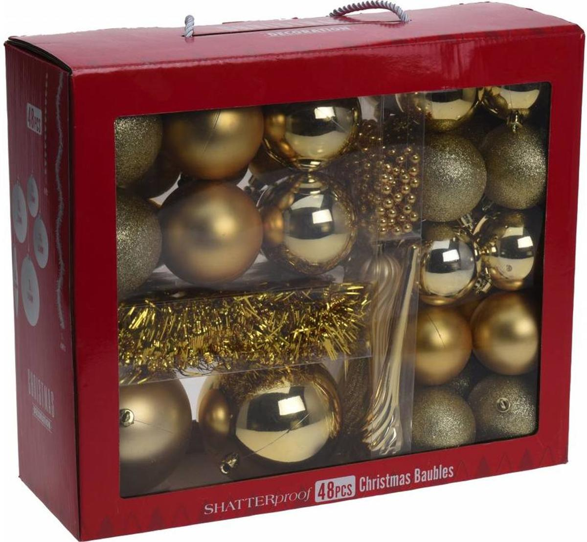 48-Delige plastic kerstboom decoratie set Goud kopen