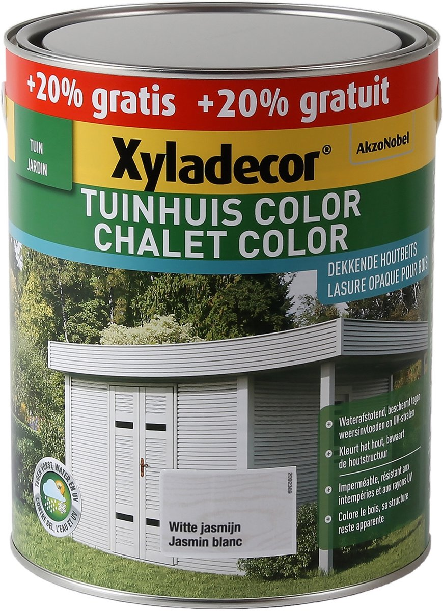 Xyladecor Tuinhuis Color - Houtbeits - Witte Jasmijn - Mat - Promo 3L