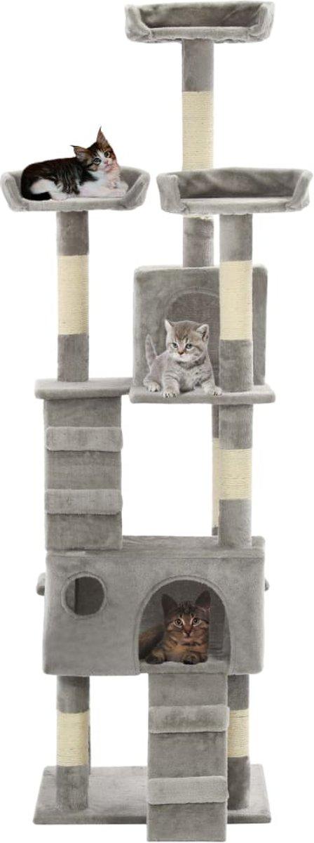 vidaXL Kattenkrabpaal met sisal krabpalen 170 cm grijs