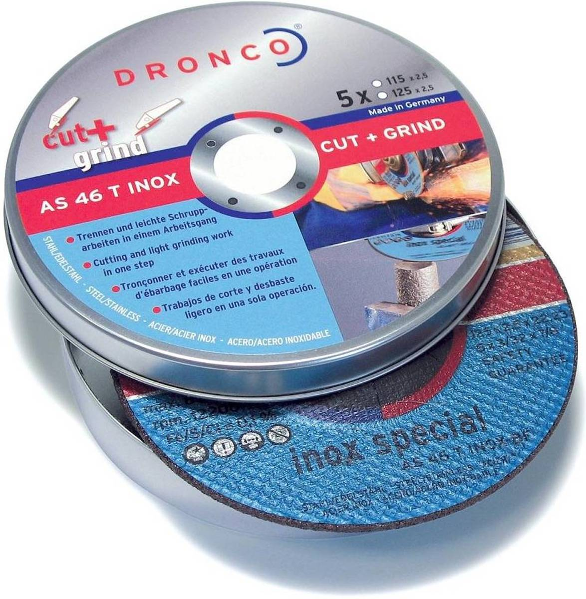 Dronco Blik doorslijp-/afbraamschijf 125mm (5 schijfjes) AS46T CUT&GRIND kopen