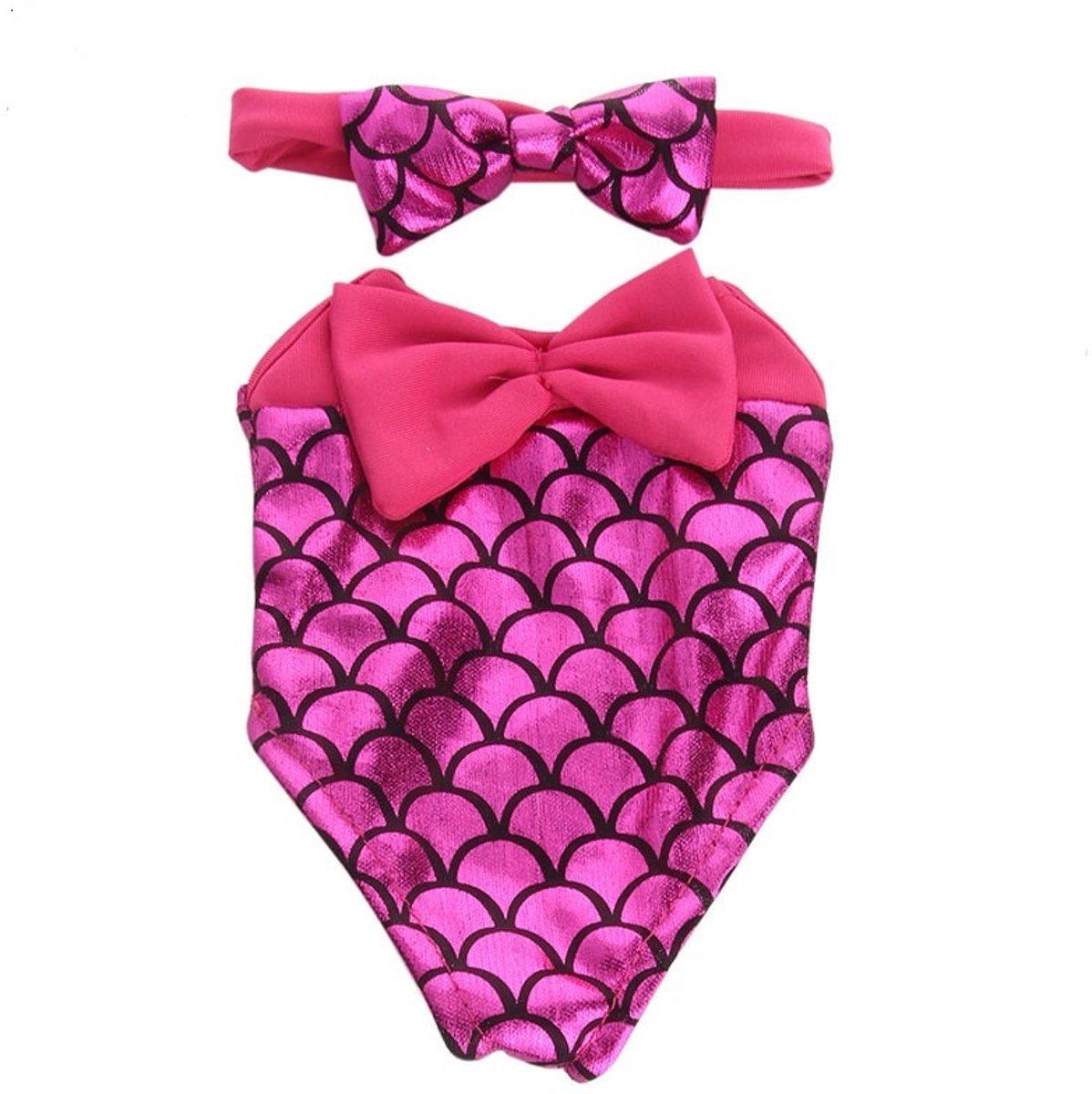 Roze Zeemeermin badpak voor poppen met een lengte van 40-45 cm zoals Baby Born pop.