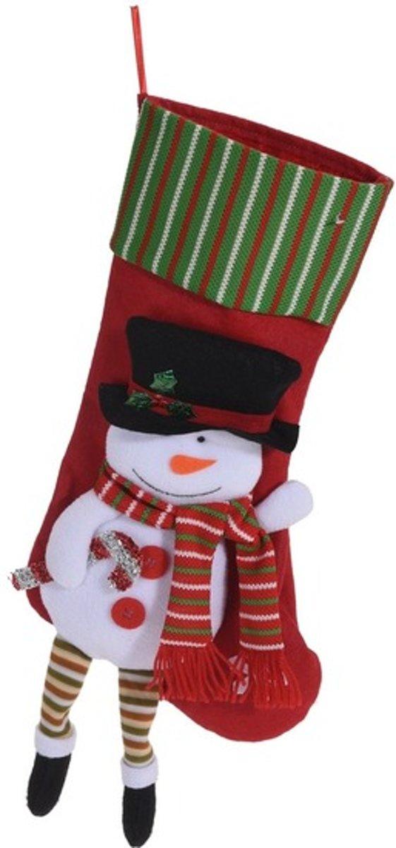 Rode kerstsok met sneeuwpop kerstversiering hangdecoratie 47cm kopen