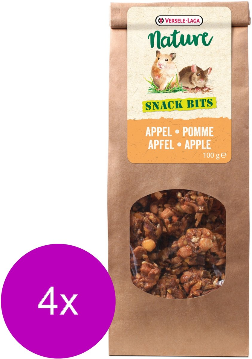 Versele-Laga Nature Snack Bits Apple - Knaagdiersnack - 4 x Appel 100 g