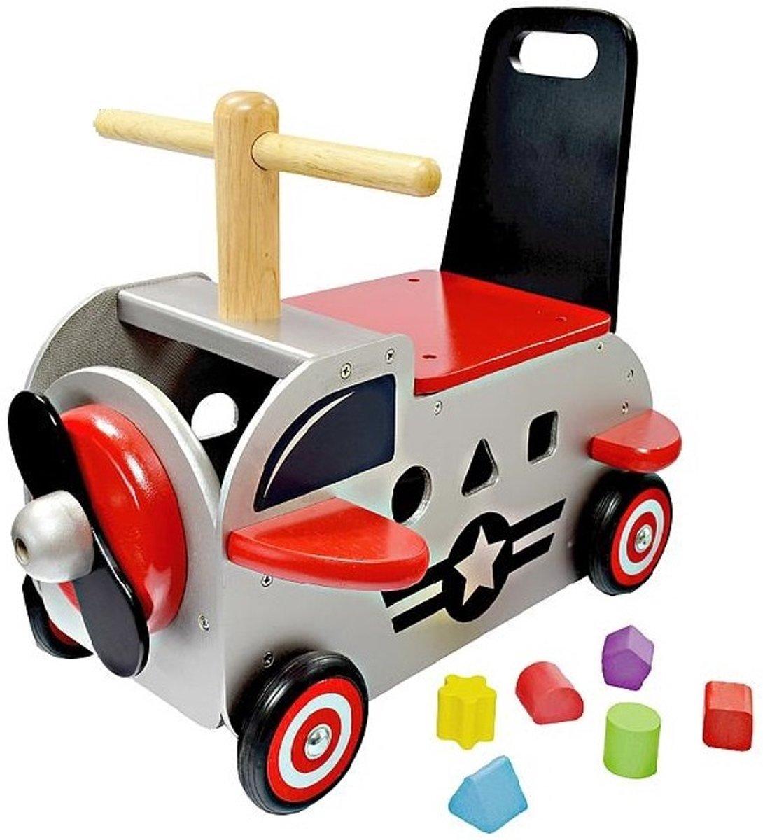 Im Toy Loop- En Duwwagen Vliegtuig 42 X 38 X 24 Cm Grijs/rood