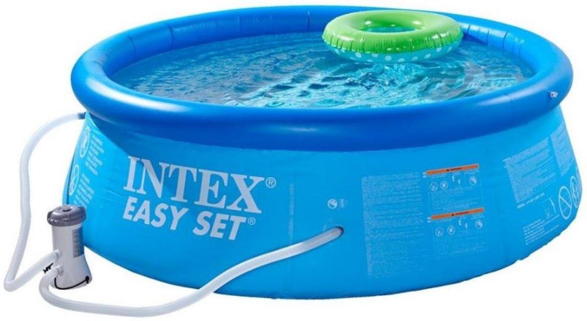 Intex Easy Set Opblaasbaar Zwembad - 244 cm - Inclusief Filterpomp en Afdekhoes