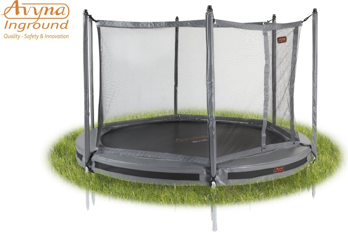 Avyna InGround trampoline PRO-LINE 4,30 (14 ft) Grijs + net + InGround Tool Set (combi)