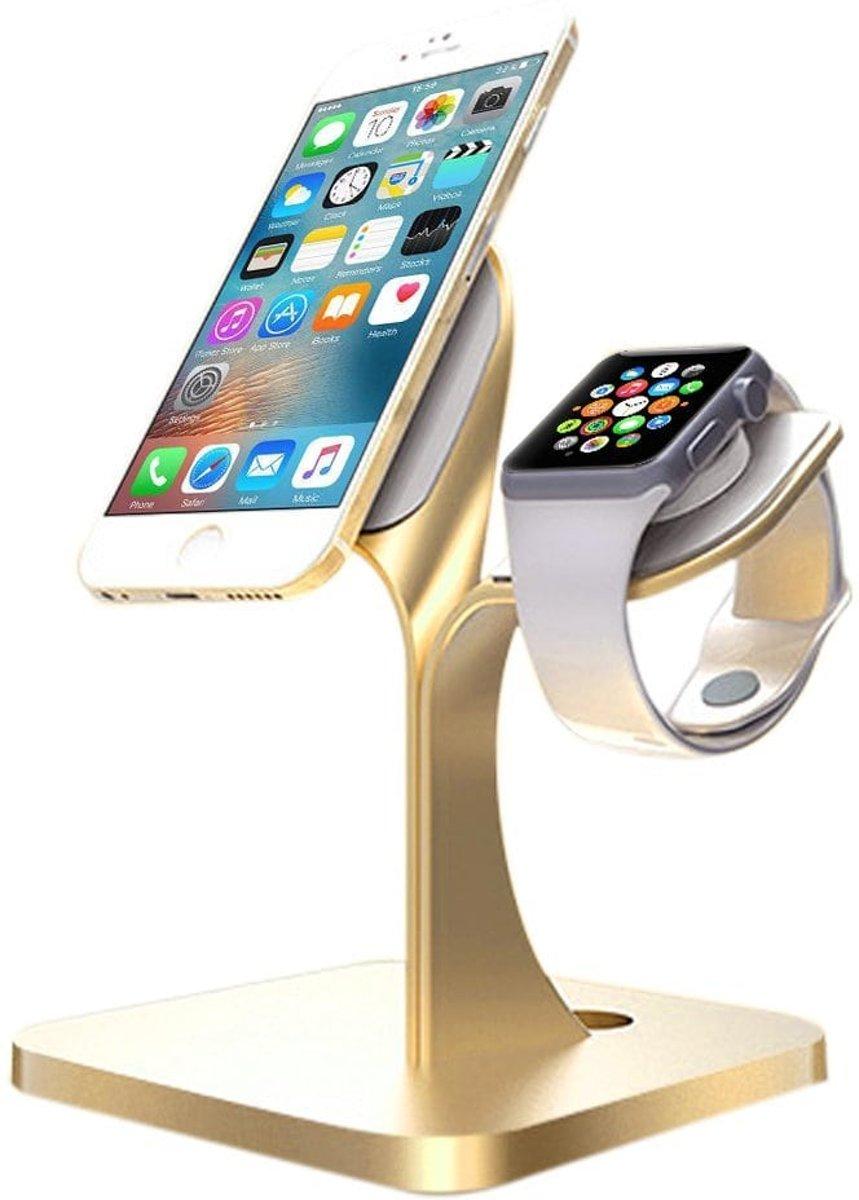 2 in 1 Aluminium Nano Micro Suction Cradle Apple Watch Standaard / Iphone houder voor Apple Watch/ iPhone 6 / 6 Plus /6s / 6s Plus /7 / 8 / 8 plus / Iphone X Goud Watchbands-shop.nl kopen