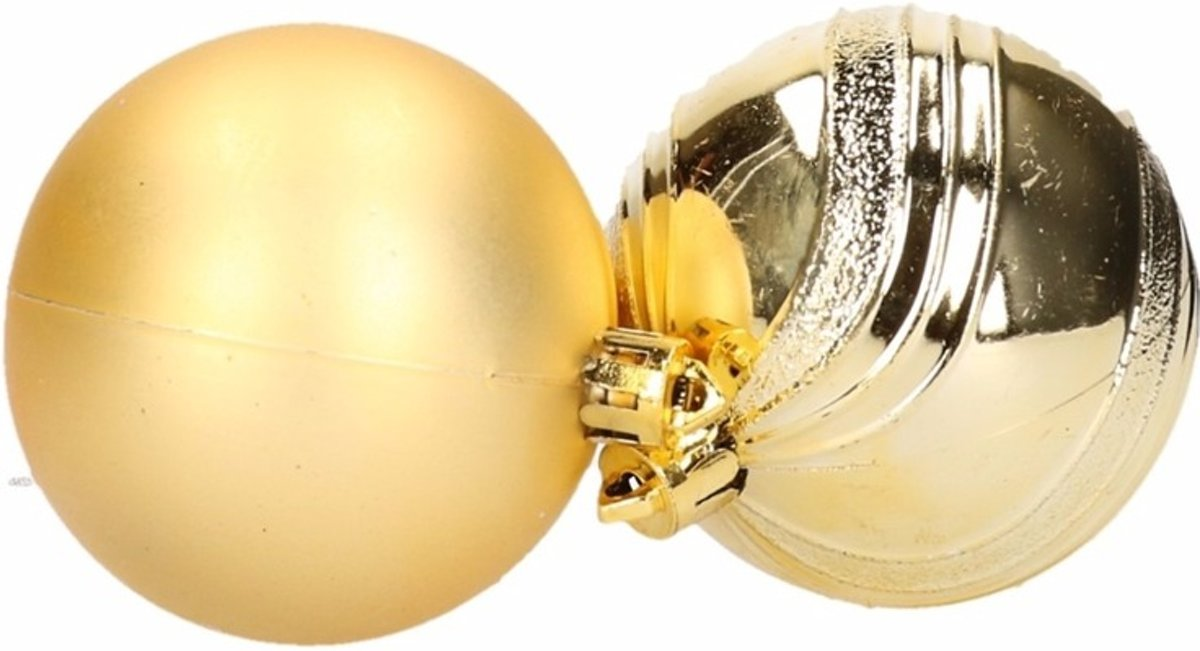 6 gouden kerstballen glanzend en mat kopen
