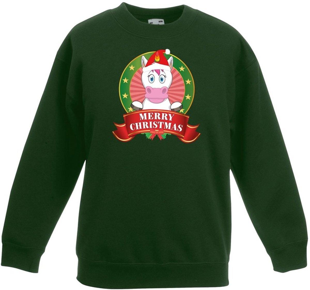 Groene kersttrui met een eenhoorn jongens en meisjes - Kerstruien kind 7-8 jaar (122/128) kopen