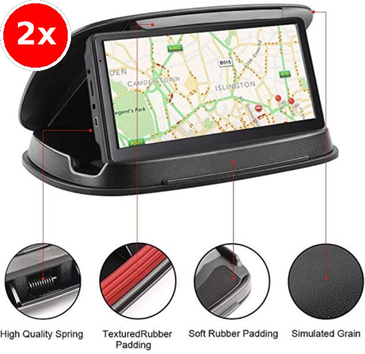 2x Nieuw Luxe Auto telefoon houder - Dashboard houder , dashboard bevestiging , anti slip Beanbag - autohouder ultra luxe voor Garmin Nuvi TomTom iPhone Samsung - Rheme kopen