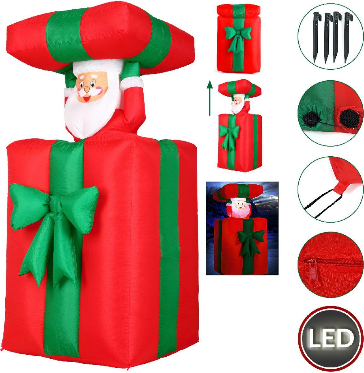 Kerstman in cadeau, opblaasbaar, beweegt op en neer, voor binnen en buiten kopen