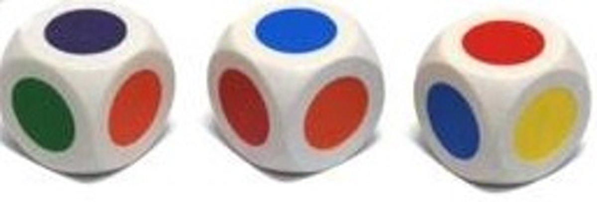 KleurendobbelsteenD6 16mm 6-zijdig, Wit Per 12