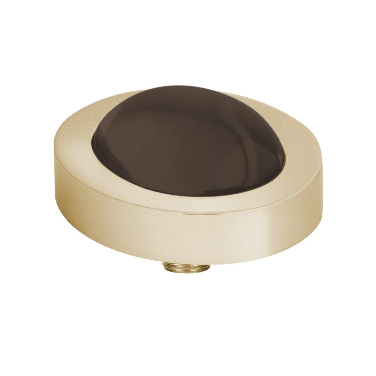 Melano vivid oval steentje - coffee - dames - goudkleurig - 10 mm kopen