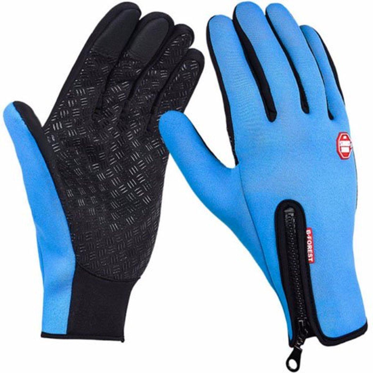 Winter handschoenen- Fietshandschoenen - Winddicht - Waterproof - Maat M - Blauw kopen