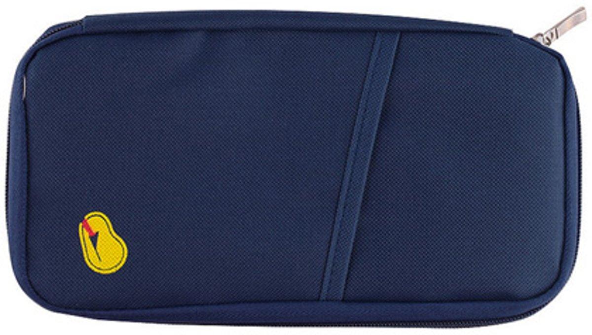 Reistasje - paspoorthouder - reis organizer - donkerblauw kopen