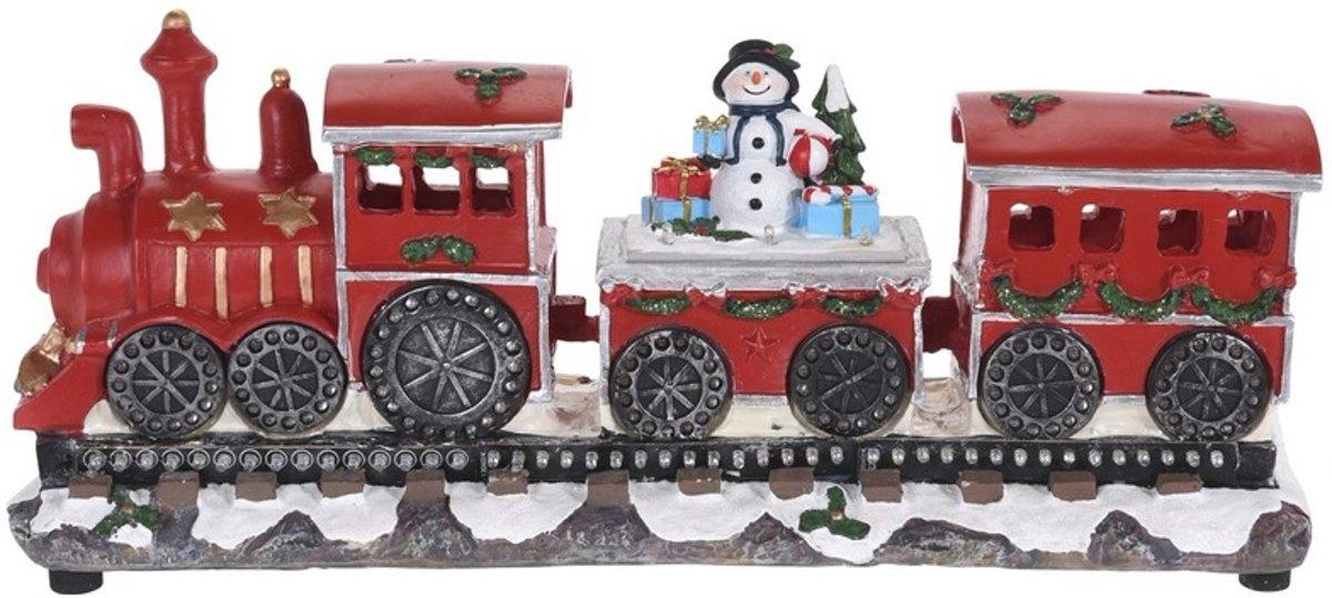 Kersttrein beeldje met sneeuwpop 39 cm met LED verlichting kopen