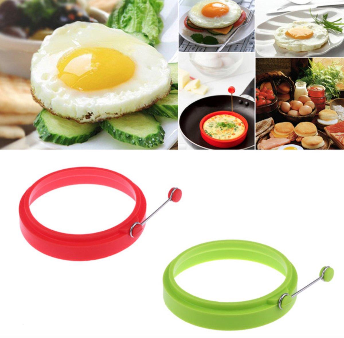 Set van 2 bakvormen rond| siliconen | voor baksels, pannenkoek, omelet en ei vorm kopen