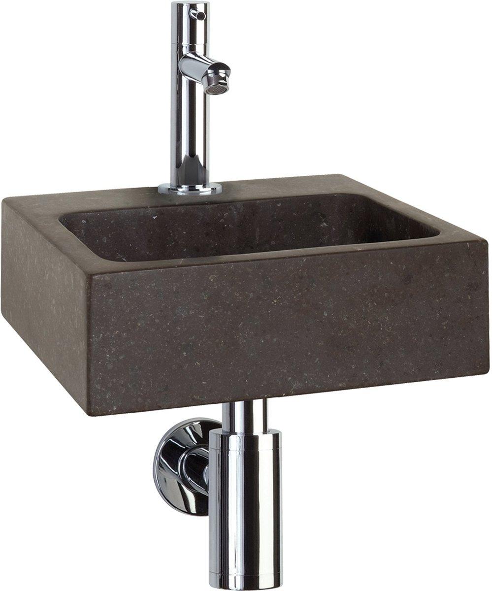 Fonteinset Differnz Square Rechthoek 28x27x9cm Natuursteen Chroom Toiletkraan Sifon Plug kopen